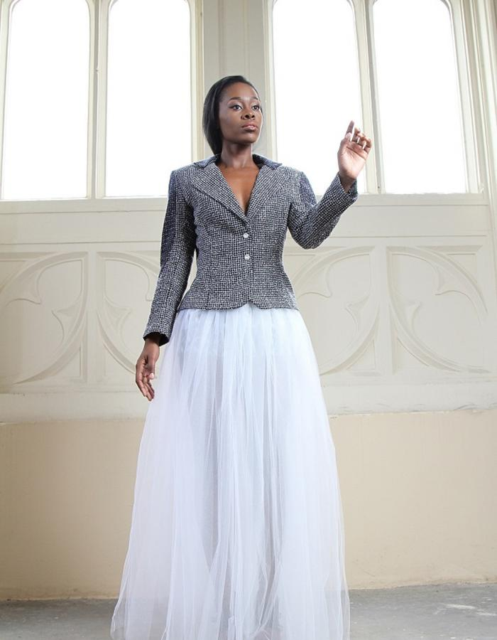 Basic Tweed Jacket/ Tulle Skirt