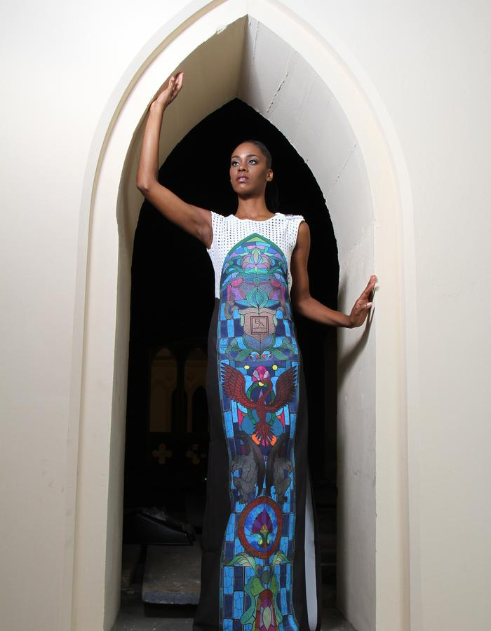 Augmented BA Stain Glass Print Gown