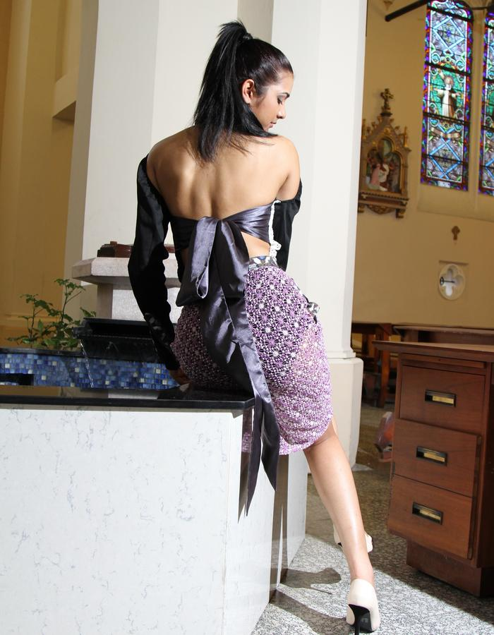 Panelled Shirt with open back/ Lace skirt
