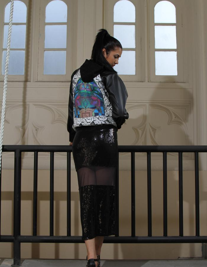 Leather and Lace Bomber Jacket with BA print/ Sequin Long Column Dress
