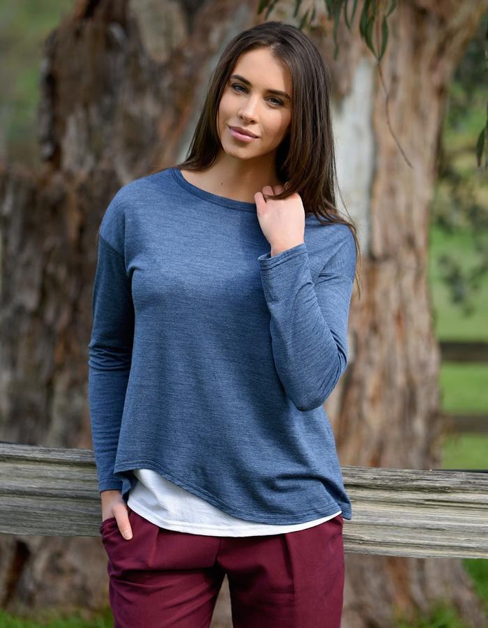 Merino layered pullover/ Burgundy tencel pants