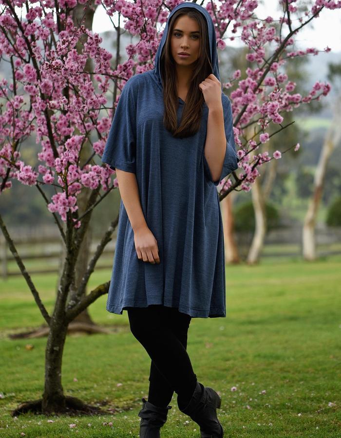 Merino wool hooded kimono dress