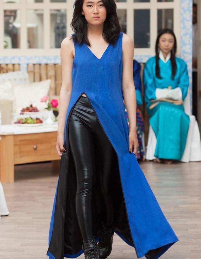 Hand woven raw silk Dress