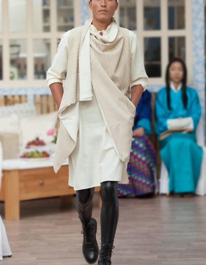 Hand woven raw silk shirt and overlay