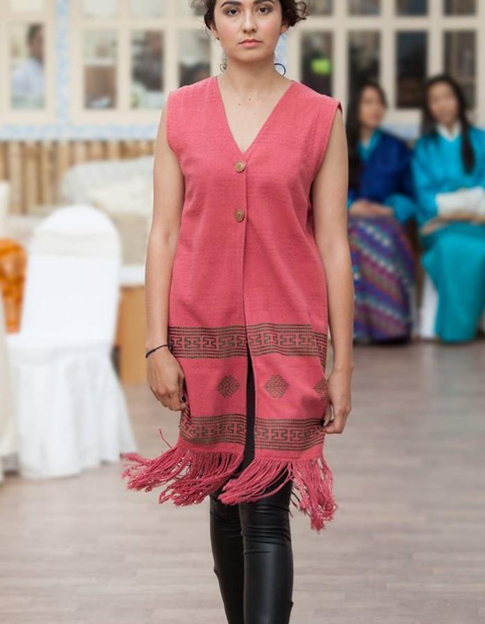 Hand woven raw silk vest