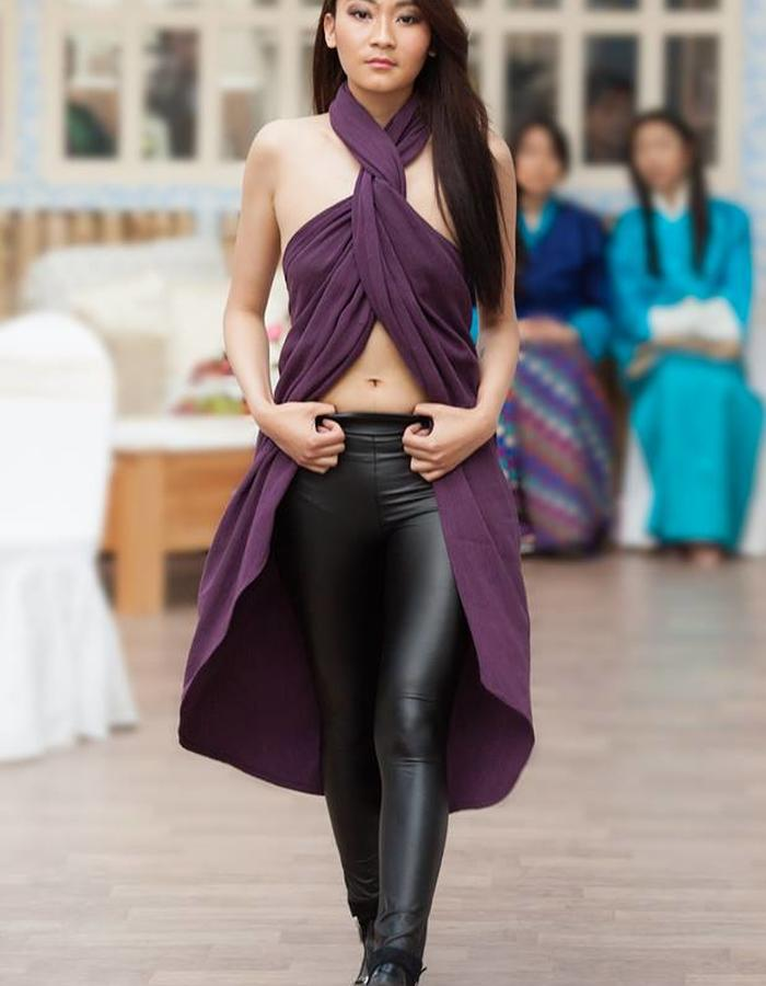 Hand woven raw silk sarong top