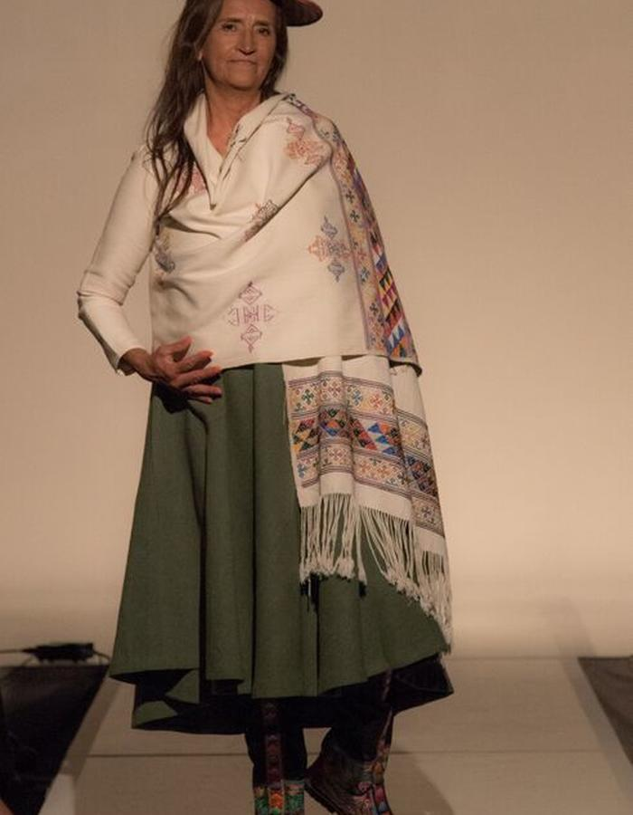 hand woven raw silk dress and over lay with silk motifs