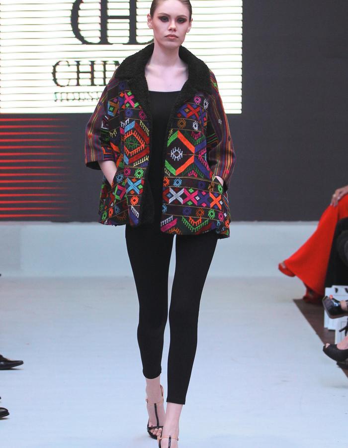 Vintage pattern cotton textile cape jacket