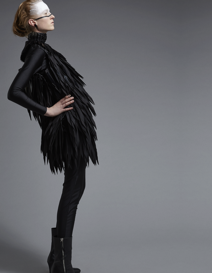 Powwow dress, origami dress wih acrylic detail by HezzuHezzu