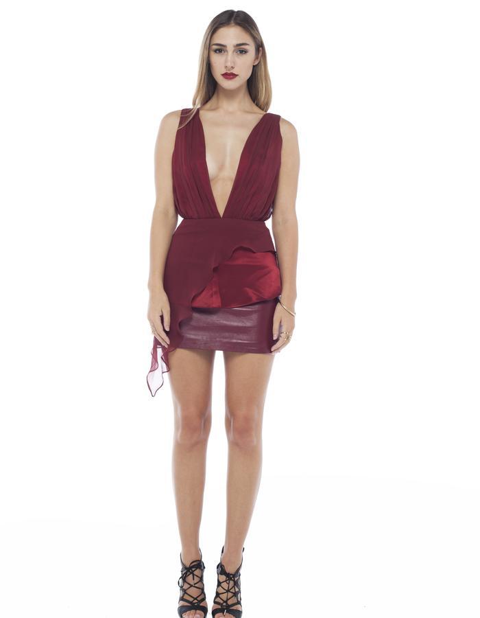 Drape beyond dress in Marsala Mahalia Brown designer label