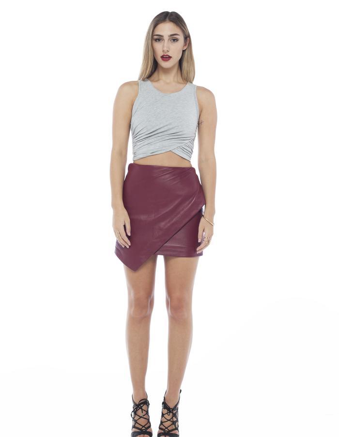 asym gather crop grey mahalia Brown designer label asylum wrap leather skirt