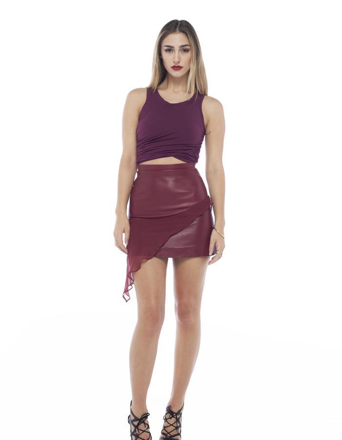 asym gather crop in burgundy Mahalia Brown designer label asylum drape leather skirt