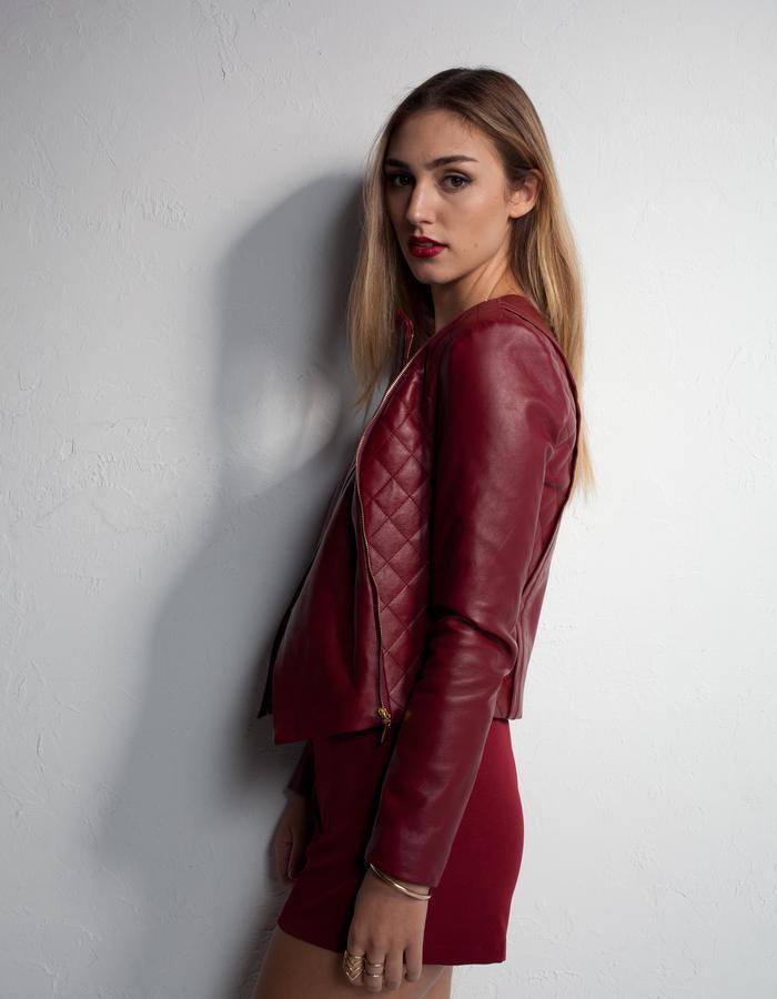 The Marsala biker crop jacket by Mahalia Brown the designer label