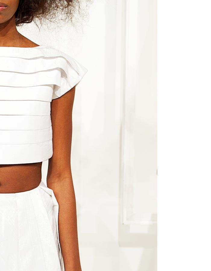 Pleated crop top and Triangular skirt in Raw Silk