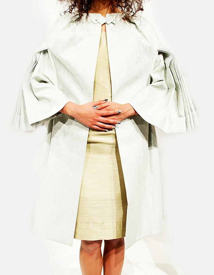 Silk Linen drop sleeve pleated Cape Dress