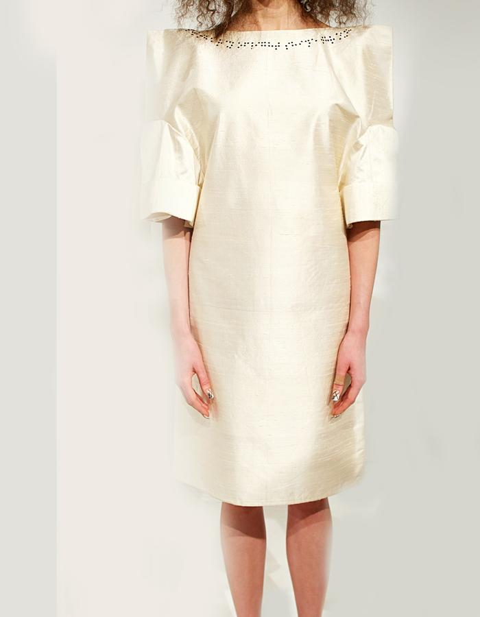 Raw Silk shift dress with exaggerated shoulders and Braille Type