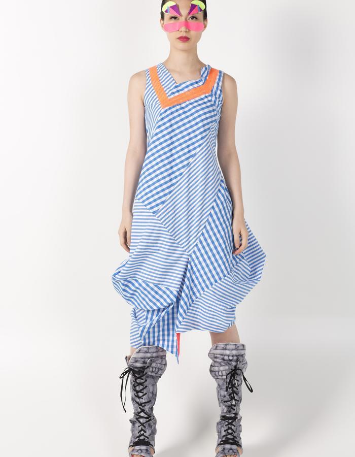 3D ASYMMETRIC VEST DRESS BLUE HKD 2680