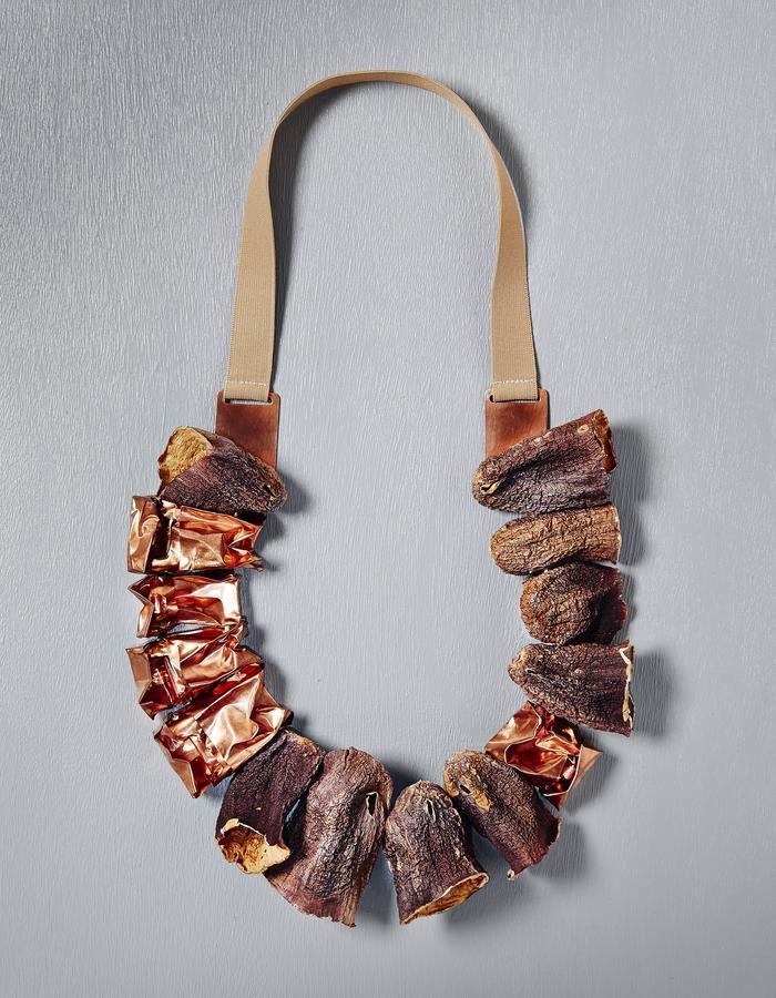 Neukölln.  Dried Aubergines, copper, elastic.  2016