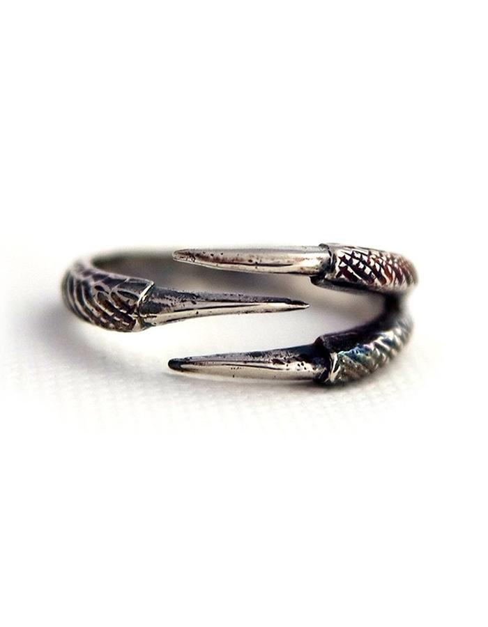 Talon Three Claw Ring in Antique Silver