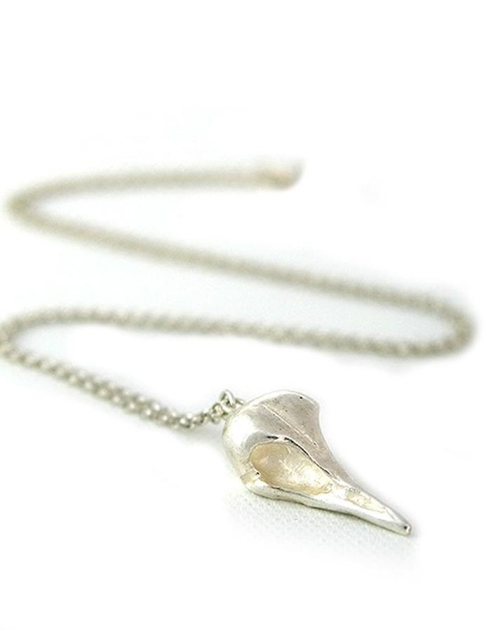 Raven Skull Pendant in Silver
