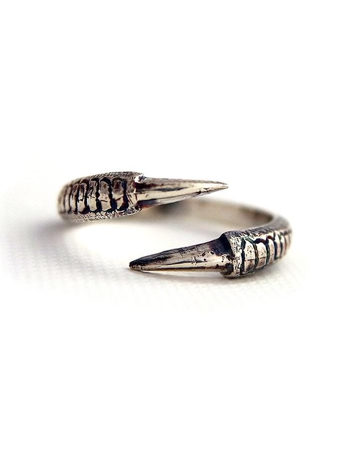 Talon Two Claw Ring in Antique Silver