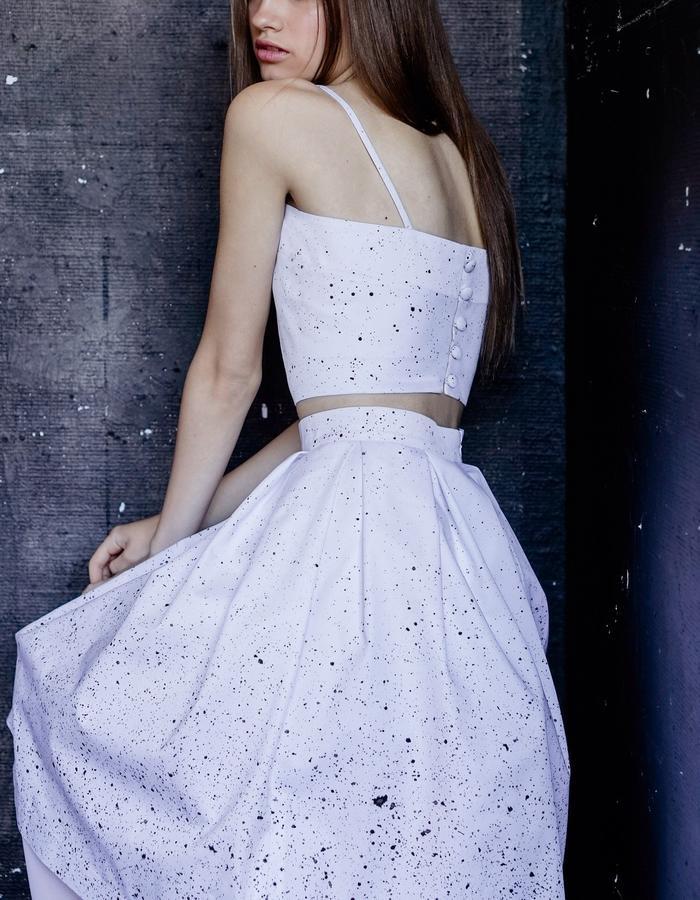 MONO SPLASH Crop Top and Pleated Midi Skirt