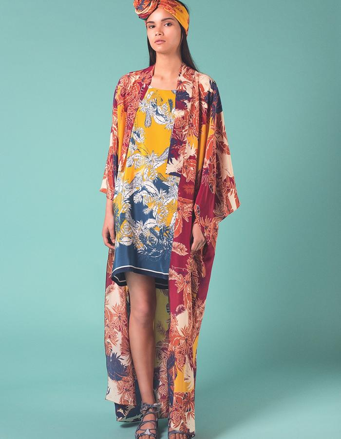 Red Bantu long kimono. 100% Silk crepe de chin. Printed and manufactured in the UK.