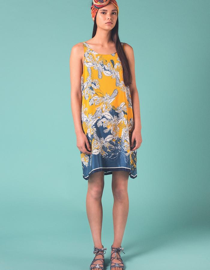 Yellow and blue Bantu dress. 100% Silk crepe de chine. Printed and manufactured in the UK
