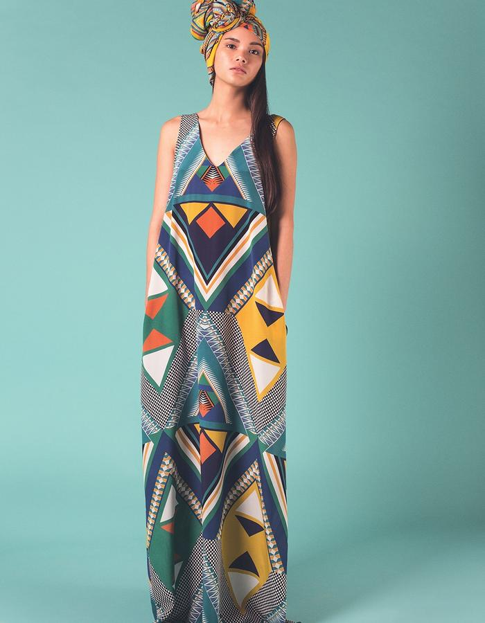 Dala Dala long maxi dress with pockets. 100% Silk crepe de chine. Printed and manufactured in the UK