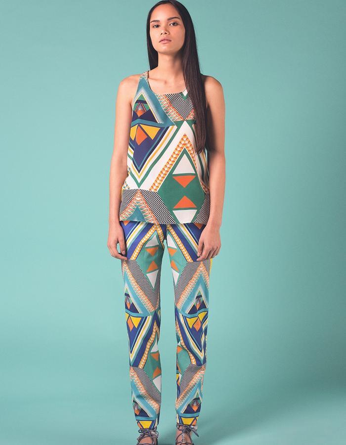 Dala Dala vest top.  100% Silk crepe de chine. 100% Silk crepe de chine Printed and manufactured in the UK