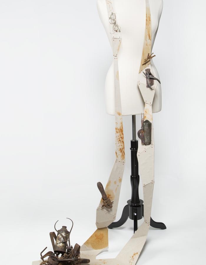 Onerous Vestige.  Wood, steel, found objects, copper, self-dyed linen.  2013