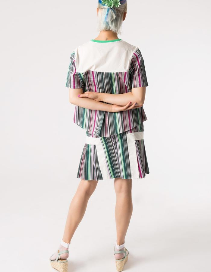 SUMMER COLLECTION 2016/GREEN STRIPES  COTTON SHIRT AND SKIRT/TANGENS