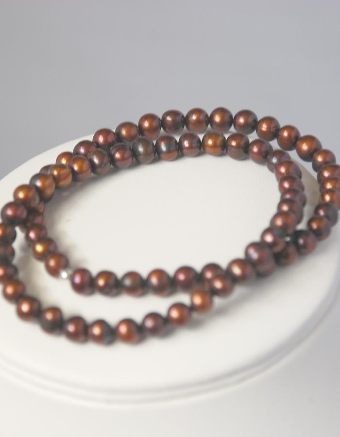 Brown freshwater pearl bracelet set