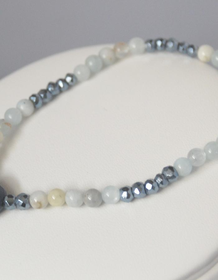 Lapis Lazuli heart and aquamarine & pyrite Bracelet