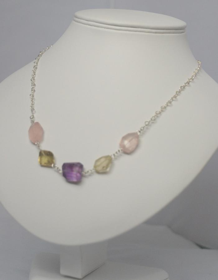 amethyst, lemon & rose quartz heart chain Necklace