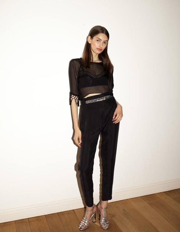 High waist loose pants silk top with fringe mesh bra by keren allouche