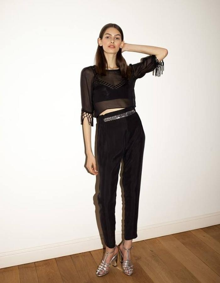 High high waist loose pants silk top with fringe mesh bra by keren allouche