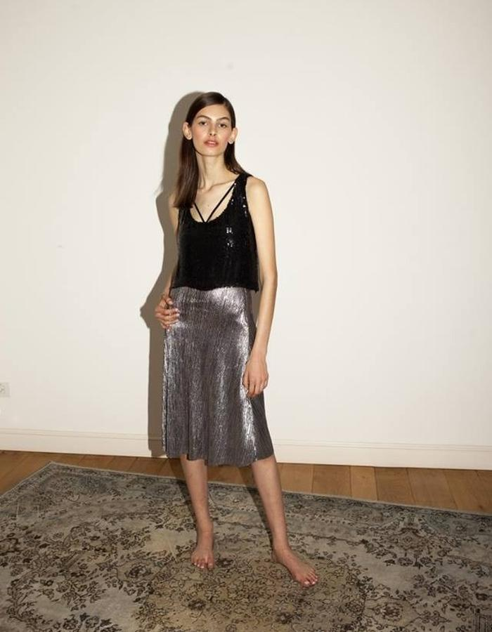 Sequins top silver skirt by keren allouche
