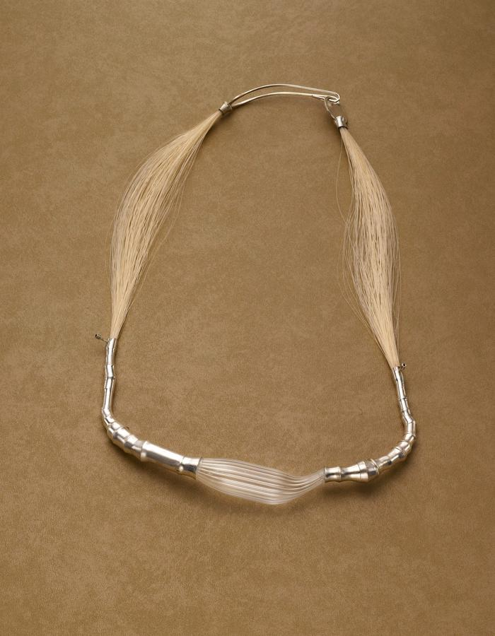 Necklace/ Materials: silver,glass, horsehair,sapphires