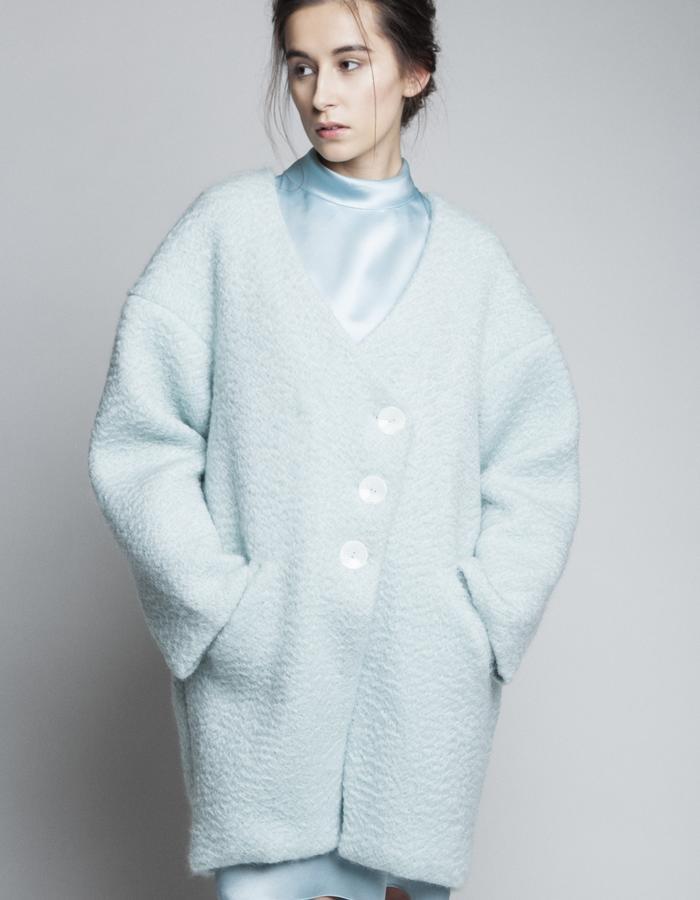 Zoe Carol Womenswear Wool Drape Coat and Silk Roll neck dress