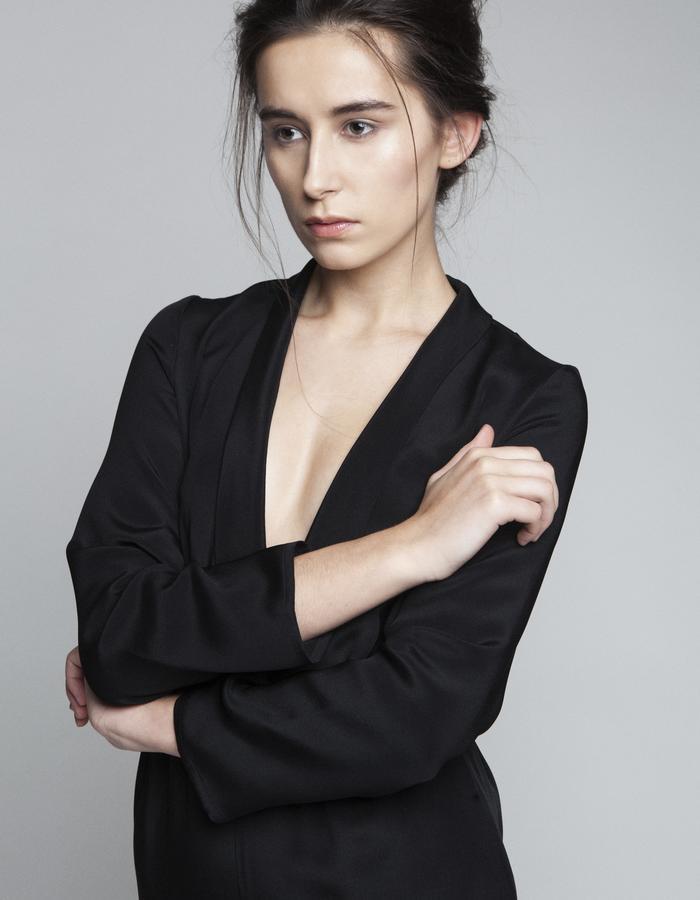 Zoe Carol Womenswear silk black tuxedo trouser pant jumpsuit