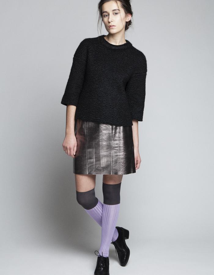 Zoe Carol Womenswear wool black sweater and foil leather skirt