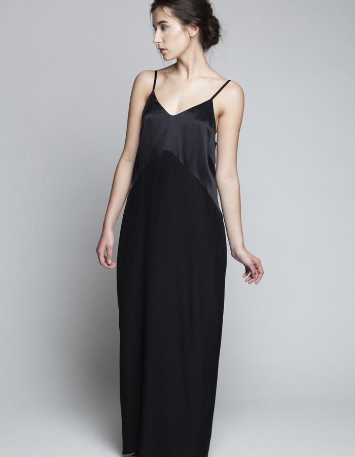 Zoe Carol Womenswear silk black maxi slip dress gown