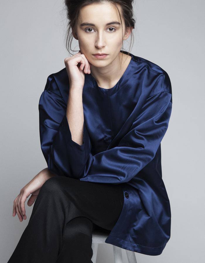 Zoe Carol Womenswear silk navy opera jacket and wool black trousers