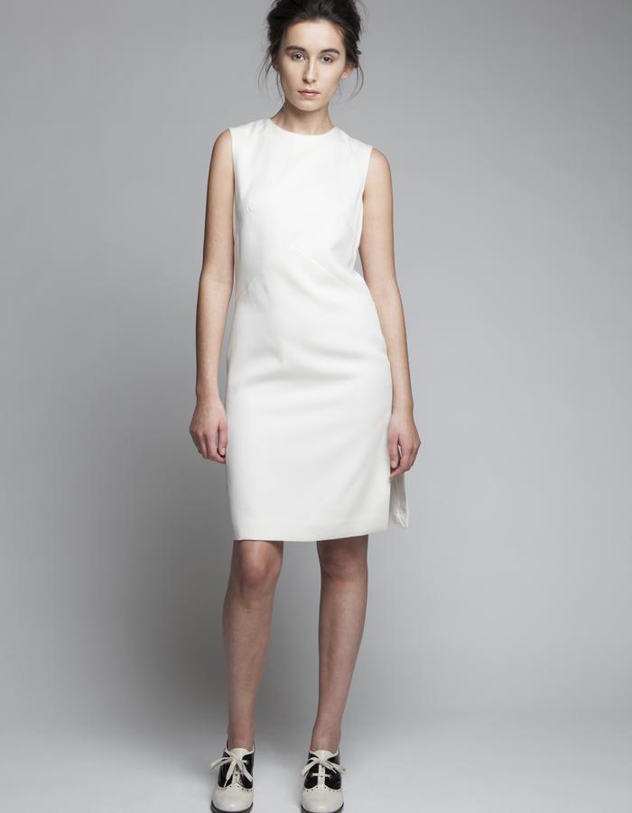Zoe Carol Womenswear wool white sleeveless panel dress