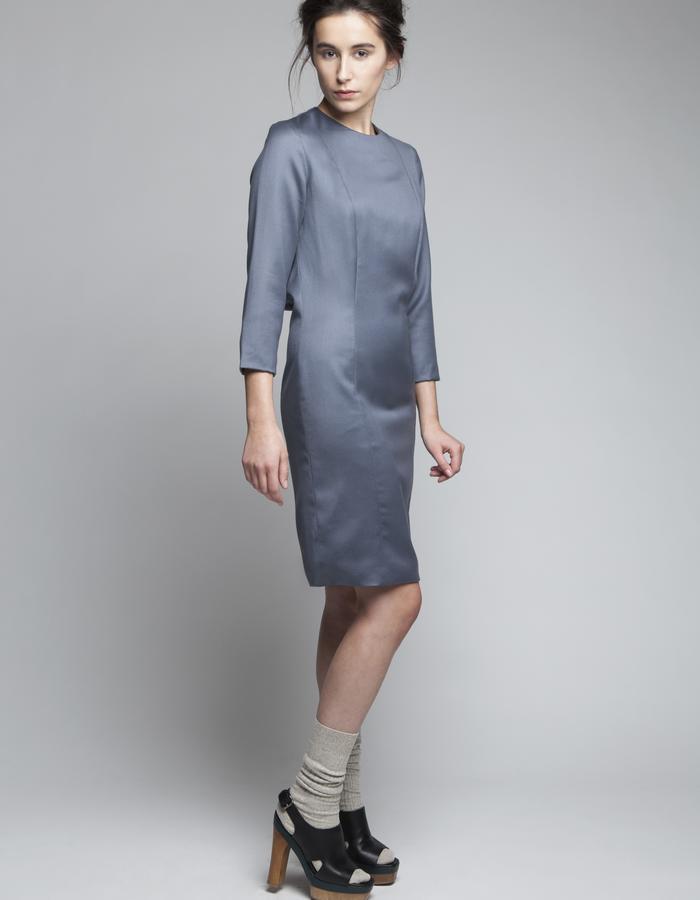Zoe Carol Womenswear wool grey long sleeve drape back dress