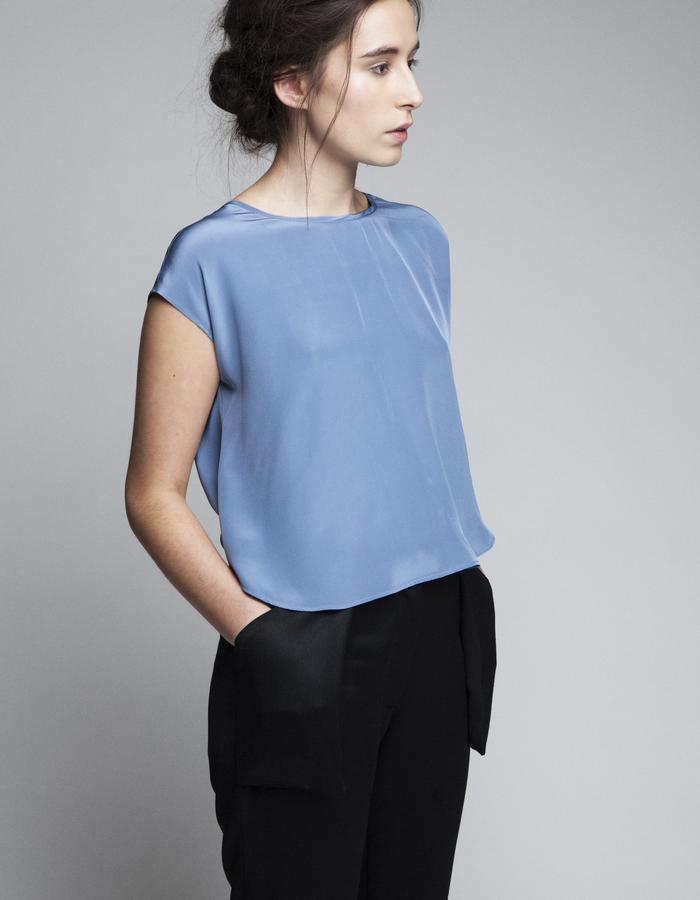 Zoe Carol Womenswear silk blue blouse and wool black trouser pants