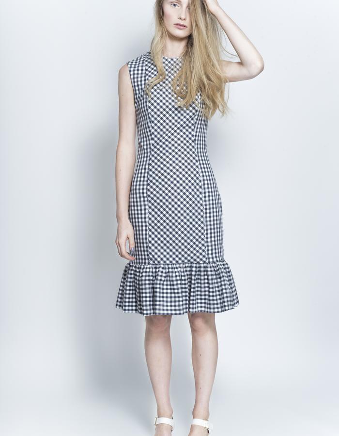 Zoe Carol Womenswear organic cotton gingham check sleeveless pencil ruffle hem skirt