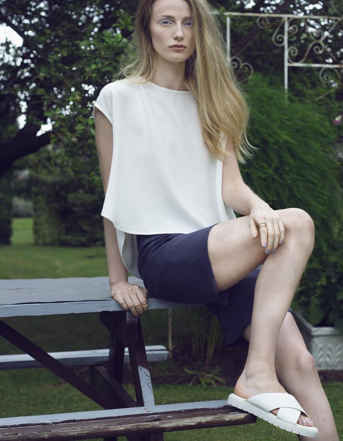 Zoe Carol Womenswear white crepe drape back top and  japanese triacetate blue grey shorts