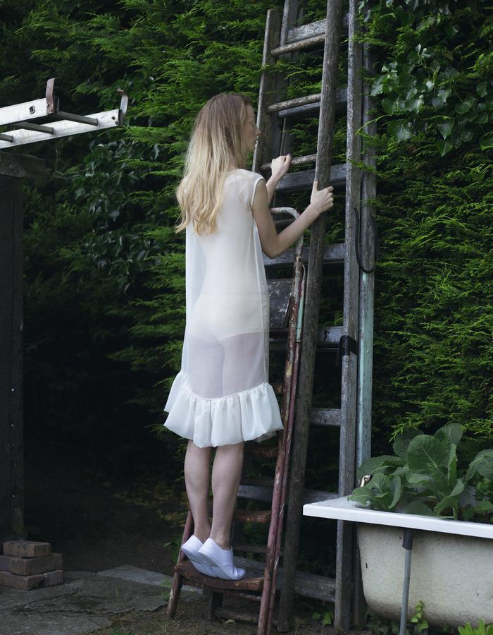 Zoe Carol Womenswear white sheer ruffle dress